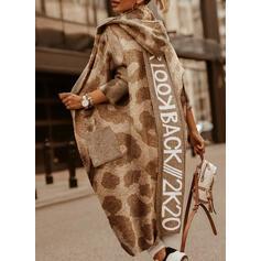 Bolsos Leopardo Com Capuz Casual Longo Cardigã