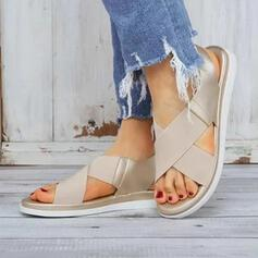 Women's Fabric PU Flat Heel Sandals Peep Toe With Elastic Band shoes