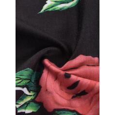 Imprimeu/Floral Mâneci Scurte Soğuk omuz kılıfı Shift Elbiseleri Până la Genunchi gündelik Tunică Elbiseler