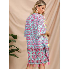Embroidery/Print 1/2 Sleeves Shift Above Knee Casual/Boho/Vacation Tunic Dresses