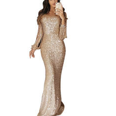 Sequins Long Sleeves Sheath Maxi Casual/Party Dresses