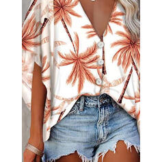 Print V-Neck Flare Sleeve 1/2 Sleeves Button Up Casual T-shirts