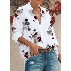 Print Bloemen Revers Lange Mouwen Dichtknopen Casual Overhemd