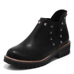 Femmes Similicuir Talon bas Bottes avec Rivet chaussures