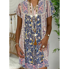 Print/Floral Short Sleeves Shift Above Knee Casual/Boho/Vacation Dresses