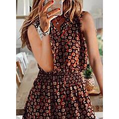 Print Sleeveless A-line Above Knee Casual/Boho/Vacation Dresses