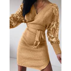 Flitterek/Egyszínű Hosszú ujjú Testre simuló ruhák Térd feletti Hétköznapokra φορέματα