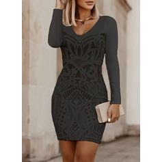 Print Lange Mouwen Bodycon Boven de knie Zwart jurkje/Elegant Jurken