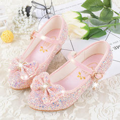 Girl's Leatherette Low Heel Closed Toe Flower Girl Shoes With Bowknot Buckle Sparkling Glitter