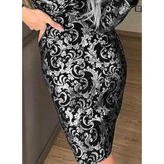 Print Long Sleeves Bodycon Party Midi Dresses