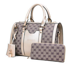 Vintga PU Satchel/Boston Bags/Bag Sets/Wallets & Wristlets
