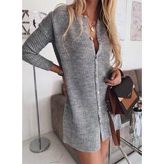 Solid Kabelsticka Klumpig stickning V-neck Tröja klänning