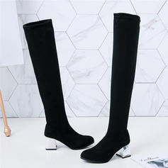 Women's Fabric Chunky Heel Over The Knee Boots With Crystal Heel shoes