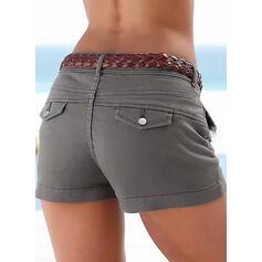 Einfarbig Sexy Jahrgang Große Größen pocket patch Hosen Kurze Hose