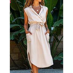 Solid Sleeveless A-line Wrap/Skater Little Black/Casual Midi Dresses