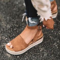 Leatherette Wedge Heel Sandals Wedges Peep Toe Heels With Split Joint shoes