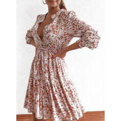 Print/Floral Long Sleeves/Puff Sleeves A-line Above Knee Casual Dresses