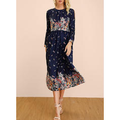 Print/Floral Long Sleeves/Split Sleeve A-line Casual/Boho/Vacation Midi Dresses