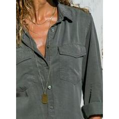 Μονόχρωμο Πετό Μακρυμάνικο Χωρίς Κουμπιά Κολάρου Καθημερινό Μπλούζες Πουκάμισα