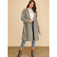 Polyester Long Sleeves Plain Blend Coats