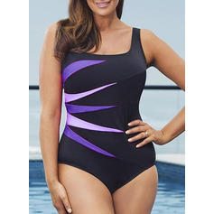 Print Strap Elegant Plus Size One-piece Swimsuits