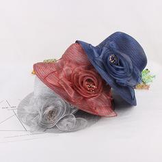 Signore Bella/Elegante/stile vintage Del organza con Fiore di seta Cappello a bombetta / Cloche