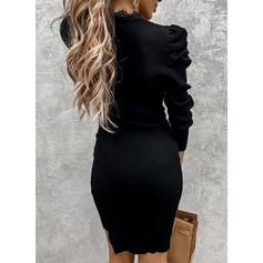 Encaje/Sólido Manga Larga/Mangas Abullonadas Ajustado Sobre la Rodilla Pequeños Negros/Fiesta/Elegante Suéter Vestidos