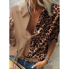Leopard Klopa Dlouhé rukávy Na Knoflíky Neformální Košile halenky