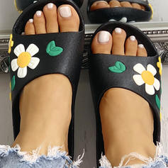 Women's PU Flat Heel Sandals Peep Toe Slippers With Flower shoes