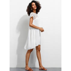 Lace/Solid Short Sleeves Shift Above Knee Casual Dresses