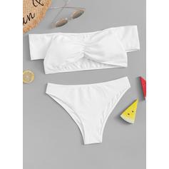 Solid farve Stropløs Elegant Bikinier Badedragter