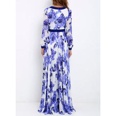 Print/Floral Long Sleeves A-line Maxi Casual Dresses