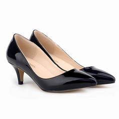 Women's Patent Leather Kitten Heel Pumps Closed Toe shoes