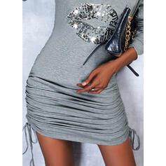 Nadruk Długie rękawy cold ramion rękaw Pokrowiec Nad kolana Nieformalny Sukienki