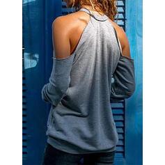 Potisk Figura Odhalená Ramena Dlouhé rukávy Neformální Bluze