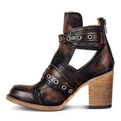 Donna PU Tacco spesso Stiletto Punta chiusa Stivali Martin boots con Rivet Fibbia scarpe
