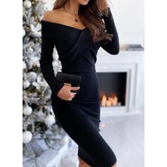Couleur Unie Manches Longues Moulante Longueur Genou Petites Robes Noires/Élégante Crayon Robes