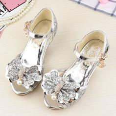 Girl's Sparkling Glitter Low Heel Peep Toe Sandals Flower Girl Shoes With Bowknot