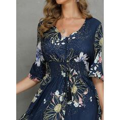Nadrukowana/Kwiatowy Rękawy 1/2 W kształcie litery A Casual/Elegancki/Wakacyjna Maxi Sukienki