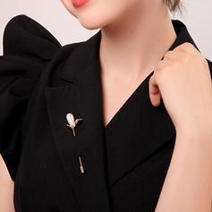 Único Aleación con Perlas de imitación De mujer Broches de la manera