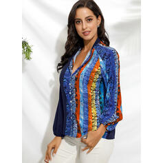 Print Color Block V-Neck 3/4 Sleeves Button Up Casual Shirt Blouses