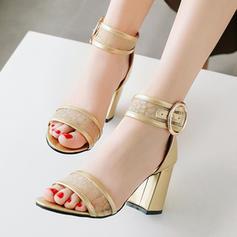 Femmes PU Talon bottier Sandales avec Boucle chaussures