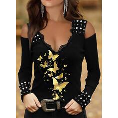 Nadruk butterfly Koronka Zimne ramię Długie rękawy T-shirty