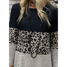 Fargeblokk Leopard Rund hals Lange ermer Casual T-skjorter