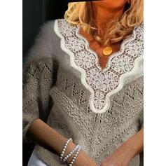 Geblockte Farben Spitze V-Ausschnitt Freizeit Pullover