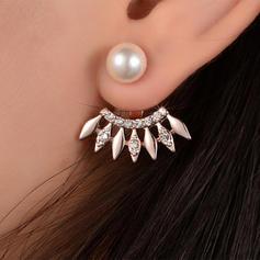 élégant Alliage Strass De faux pearl avec Perle d'imitation Strass Boucles d'oreilles
