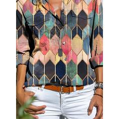 Geometrik Baskı klapa Uzun kollu Düğmesiz Yakalı Günlük Gömlekler