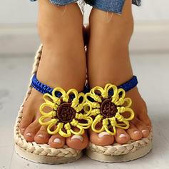 Vrouwen PU Flat Heel Sandalen Flats Peep Toe Slippers met Bloem schoenen
