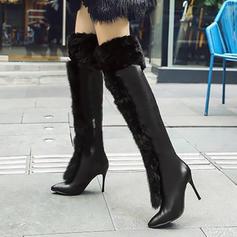 Femmes PU Talon stiletto Escarpins Bottes hautes avec Zip Fausse Fourrure chaussures