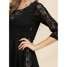 Lace/Solid 3/4 Sleeves A-line Midi Casual/Elegant Dresses
